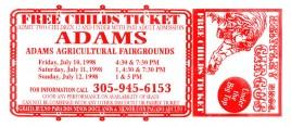 Bentley Bros. Circus Circus Ticket - 1998