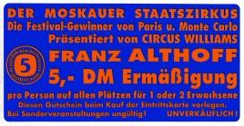 Circus Williams-Althoff Circus Ticket - 0