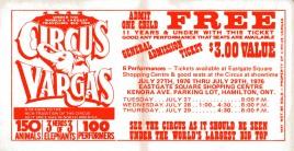 Circus Vargas Circus Ticket - 1976