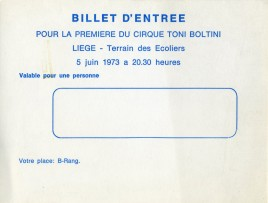 Circus Toni Boltini Circus Ticket - 1973