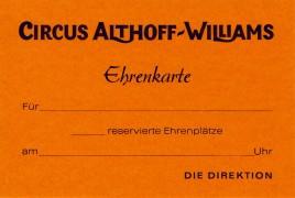 Circus Althoff-Williams Circus Ticket - 0
