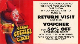 Gerry Cottle's Circus Circus Ticket - 1998