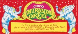 Circo Miranda Orfei Circus Ticket - 1987