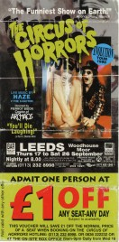 The Circus of Horrors Circus Ticket - 1998