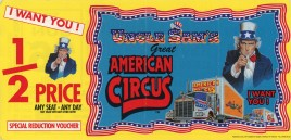 Uncle Sam's Great American Circus Circus Ticket - 1998