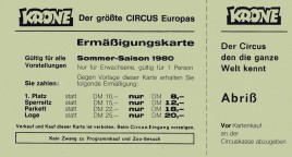 Circus Krone Circus Ticket - 1980