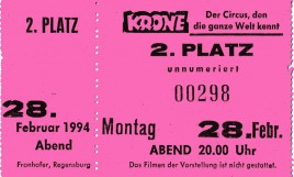 Circus Krone Circus Ticket - 1994