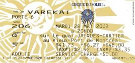 Cirque Du Soleil - Varekai Circus Ticket - 2002
