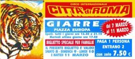 Circo Citta' di Roma Circus Ticket - 1997