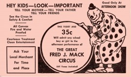 Fred J. Mack Circus Circus Ticket - 0