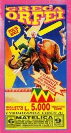 Circo Greca Orfei Circus Ticket - 2001