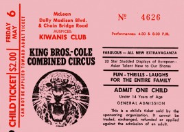 King Bros-Cole Combined Circus Circus Ticket - 1977