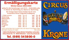 Circus Krone Circus Ticket - 2003