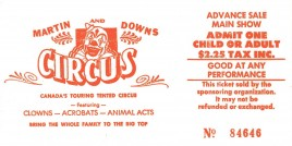 Martin and Downs Circus Circus Ticket - 0