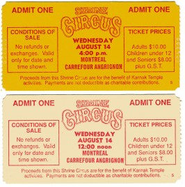 Shrine Circus Circus Ticket - 1980