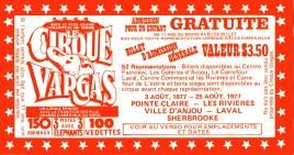 Circus Vargas Circus Ticket - 1977