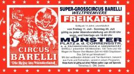 Circus Barelli Circus Ticket - 1997