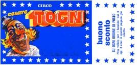 Circo Cesare Togni Circus Ticket - 1984