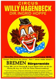 Circus Willy Hagenbeck Circus Ticket - 1976