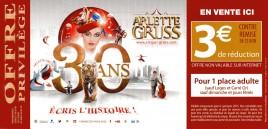 Cirque Arlette Gruss - 30 Ans Circus Ticket - 2015