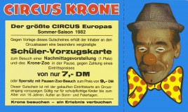 Circus Krone Circus Ticket - 1982