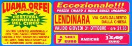 Circo Luana Orfei Circus Ticket - 2002