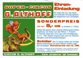 Circus Giovanni Althoff Circus Ticket - 1986