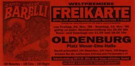Circus Barelli Circus Ticket - 1998