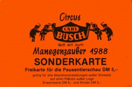 Circus Carl Busch Circus Ticket - 1988
