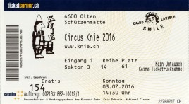 Circus Knie Circus Ticket - 2016