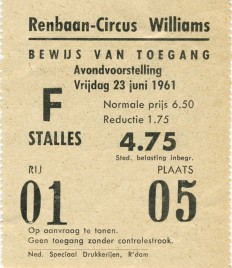 Circus Williams Circus Ticket - 1961