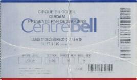 Cirque du Soleil - Quidam Circus Ticket - 2010