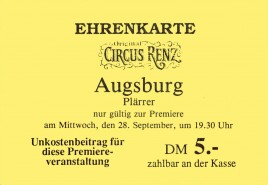 Original Circus Renz Circus Ticket - 1977