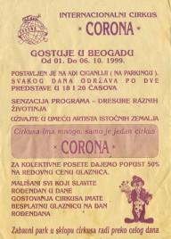 Internacionalni Cirkus Corona Circus Ticket - 1999