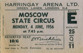 Moscow State Circus Circus Ticket - 1956