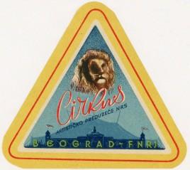 Cirkus - Artisticko preduzece NRS Circus Ticket - 1948