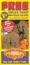 Carson & Barnes Circus Circus Ticket - 1999