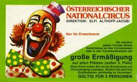 Österreichischer Nationalcircus Elfi Althoff-Jacobi Circus Ticket - 1984
